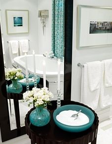 Best of the Best: Sarah Richardson--turquoise, black, and white bathroom