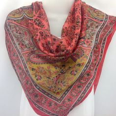 Check out Coral paisley scarf, Gift for Boss, Summer neck scarf, Pocket Scarf, Holiday Gift, Office Admin Secretary gift, Boss Coworker on blingscarves