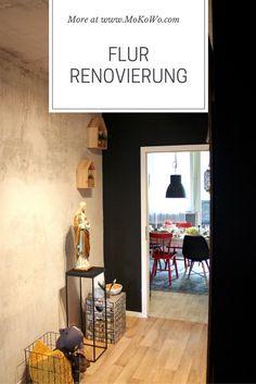 Einen schmalen Flur farblich gestalten! Unsere Homestory für eine  schnelle Flurrenovierung. Sichtbetonwand selbst machen und eine schwarze Wand streichen. Dazu eine schöne DIY Dekoration für den Flur. Lest mehr auf unserem Wohnblog.