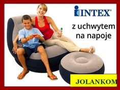 Fotel welurowy dmuchany z podnóżkiem i pojemnikiem na napoje intex