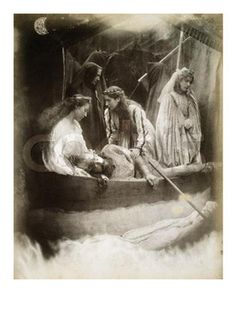 Myths. Photograph, The Passing of Arthur, by Julia Margaret Cameron, British, (1815-1879), at the request of Alfred Lord Tennyson for his Idylls of the King. King Arthur, who is to return,  is being taken to Avalon by The Lady of the Lake.