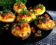 Dobbeltbagte kartofler med cheddar…