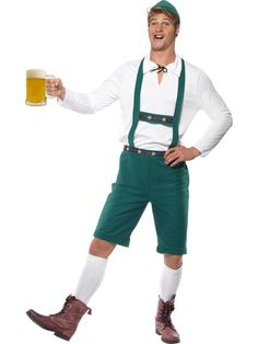 Oktoberfest Costume, Green, Lederhosen Shorts with Braces, Top and Hat. Great costume for an oktoberfest celebration! Mens Lederhosen, Costume Oktoberfest, Oktoberfest Fancy Dress, Oktoberfest Beer, Adult Costumes, Halloween Costumes, Halloween Parties, Costumes, Suits