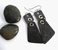 Stylish Metal Earrings Copper black long hammered by BrandFaina, $28.25