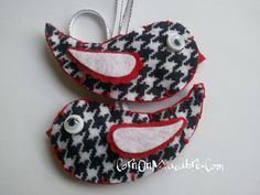 'Houndstooth Print Bird Ornaments' is going up for auction at  5pm Wed, Dec 5 with a starting bid of $8.