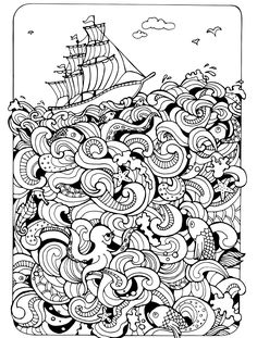 Boat On The Sea Absurdly Whimsical Adult Coloring Page Davlin Publishing