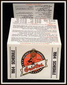 1984 BALTIMORE ORIOLES WORLD CHAMPION BASEBALL POCKET SCHEDULE FREE SHIPPING #Pocket #PocketSchedules
