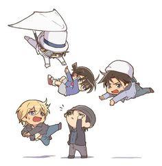 Everyone wants to save Conan. Conan Comics, Detektif Conan, Manga Anime, Anime Art, Anime Chibi, Super Manga, Kaito Kuroba, Detective Conan Wallpapers, Kaito Kid