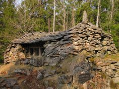 """""""Borgen Aftonfrid"""" (Rough translation is Castle of Evening Peace) in Sjölanda, Sweden. This house was built by John A Ekström by and by as he collected stones during walks in the forest. He longed for a peaceful place to write his poems about nature."""