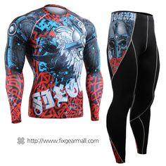#FIXGEAR #Compression Base Layer Long Sleeve #Shirts & #Pants Set, model no CFL/P2L-B73-SET, Skin Tights and Advanced Performance Fabric. ( #AeroFIX ) #Workout #Fitness #Crossfit #Training #MMA #Jujitsu #Yoga #Rashguard