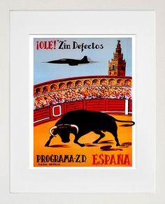 Spain Bullfighting Vintage Travel Poster Wall Art by Blivingstons