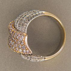 Vintage-BJC-Swirl-Design-Solid-18k-White-Yellow-Gold-Yellow-White-Diamond-Ring
