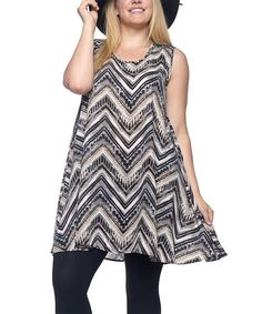 Take a look at this Hot Ginger Ivory & Black Chevron Sleeveless Tunic - Plus today!