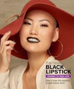 """New Black Lipstick Get the look: • Maybelline Color Sensational Lipstick in """"Pitch Black"""" • Maybelline Colossal Spider Effect • Vaseline Lip Therapy Lip Balm in """"Pink Bubbly"""" —Walgreens exclusive"""
