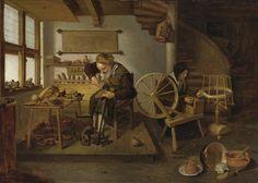 Quiringh Gerritsz. van Brekelenkam, A cobbler at Work, his wife spinning wool, ca. 1653. Oil on panel, 50.8 by 72.4 cm