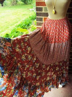 Vintage Bohemian Long Skirt Prairie Style by primitivepincushion, $36.00