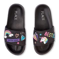 Shop for The Children's Place Girls Rainbow Unicorn Doodle Glitter Slides. Check out our great selection of kids clothes, baby clothes & more at the PLACE where big fashion meets little prices! Cute Lazy Outfits, Girls Summer Outfits, Flip Shoes, Me Too Shoes, Jordan Shoes For Women, Glitter Slides, Unicorn Fashion, Kawaii Shoes, Wedding Shoes Bride