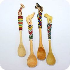 Mopani Crafts is a manufacturer and wholesaler of traditional and contemporary Ndebele beadwork. Contemporary Spoons, Beaded Bookmarks, Wood Spoon, Ceramics Projects, Glass Candle Holders, Wooden Beads, House Painting, Household Items, Glass Beads
