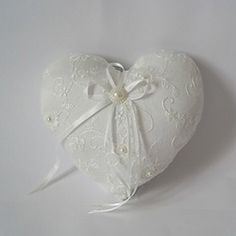 Heart Shaped Ring Pillow With Ribbons    from JJ's House, Bridal & bridal accessories.  www.jjshouse.com   We ship to Australia.   Please mention that you found them thru Jevel Wedding Planning's Pinterest Account.  Keywords: #fringpillows #royalbluethemedweddings #jevelweddingplanning Follow Us: www.jevelweddingplanning.com  www.facebook.com/jevelweddingplanning/