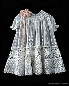 Used to design antique doll clothes and accessories antique French embroidered net and lace baby dress (robe de bébé) . Vintage Baby Dresses, Little Girl Dresses, Vintage Outfits, Girls Dresses, Lace Dresses, Peasant Dresses, Dress Girl, Dress Lace, White Dress