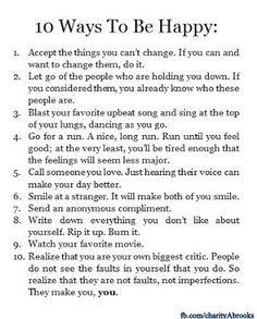 10-ways to be happy #Motivation #Inspiration #Happiness #Smile #Laughter