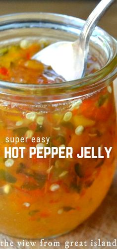 Super Easy Hot Pepper Jelly Super Easy Hot Pepper Jelly is a must in every cook's arsenal. This easy recipe makes use of both sweet and hot peppers for a colorful, confetti-like look and and an intense spicy kick. Jalapeno Jelly Recipes, Jalapeno Pepper Jelly, Pepper Jelly Recipes, Jalapeno Jam, Hot Pepper Jelly, Stuffed Jalapeno Peppers, Hot Pepper Relish, Recipes With Peppers, Sugar Free Pepper Jelly Recipe