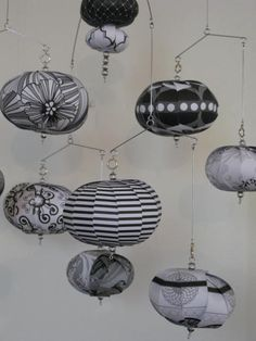 Hanging mobile black white gray by LMackeyCreations on Etsy, $50.00