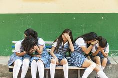 Giggling girls at school in Colombia - 2013
