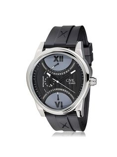 Egard Men's CVL-FORT-STL Fortitude Black Stainless Steel and Leather Watch at MYHABIT