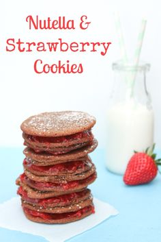 Nutella & Strawberry Cookies ~ an easy recipe with delicious results! The strawberry filling is from scratch, but you could easily substitute fruit jam instead. #valentinesday #valentines #vday
