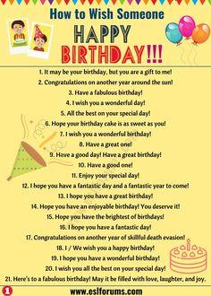 Birthday Wishes: Best Happy Birthday Wishes to Friends & Others! - ESL Forums Birthday Wishes: Best Happy Birthday Wishes to Friends & Others! English Sentences, English Vocabulary Words, Learn English Words, English Phrases, English Idioms, English Lessons, English Learning Spoken, Teaching English Grammar, English Writing Skills