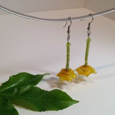 Buttercup / Dangle Earrings / Handmade Lampwork Beads / Monet Inspired / Golden Yellow / One-of-a-kind  / Handmade Beads / Glass Flowers by IntheShadeoftheSycamoreTree, $28.00 USD