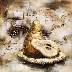 metaalschilderij fruitschaal Peer (3D schilderij) | Fruit | Trendykunst