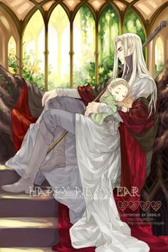 I love this picture.! Little Legolas and King / father Thranduil