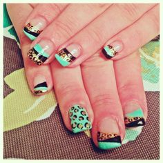 Mint and leopard tips nail art design