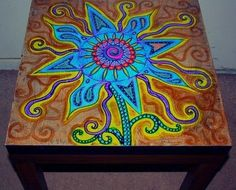 nice Funky Painted Coffee Tables | funky flower themed hand painted coffee table .fre...