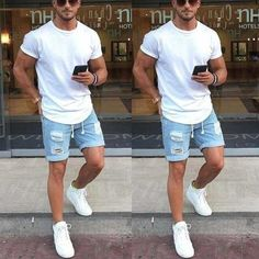 Product Personality fashion wear-washed men's jeans five pants Brand Name Podshoe SKU Gender Men Summer Outfits Men, Stylish Mens Outfits, Men Summer Fashion, Trendy Mens Fashion, Mens Summer Shorts, Outfits For Men, Clothes For Men, Fashion Spring, Spring Outfits