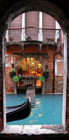 Portal Onto a Canal in Venice, Italy