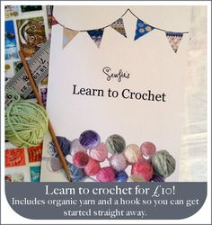 Learn to Crochet kit:  - A beautifully designed and presented A5 instruction booklet, which includes all the basic stitches, techniques, and a pattern for a beautiful scarf!  - 25g organic and fair trade cream coloured cotton yarn (more than enough to practice on!)  - A crochet hook    It would make a perfect Christmas gift for all, ESPECIALLY yourself!    You can buy these here: http://www.sewfie.com/ourshop/prod_2192480-Learn-To-Crochet-Booklet-with-Yarn-and-Hook.html    £10 per pack plus…