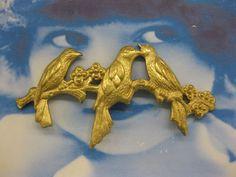 Natural Raw Brass Three Birds on a Branch by dimestoreemporium, $3.50