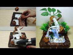 How to make newspaper waterfall fountain show piece Diy Water Fountain, Waterfall Fountain, Flower Diy, Diy Flowers, Plaster Crafts, Decoration For Ganpati, Craft Work, Diy Woodworking, Diy Tutorial