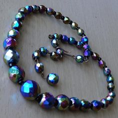 Vintage Polychrome Graduated Glass Bead Necklace