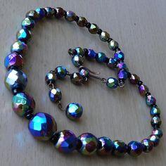 Vintage Polychrome Graduated Glass Bead Necklace