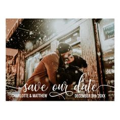 Modern White Script Wedding SAVE OUR DATE w/ PHOTO Postcard #savethedate #Wedding #invitations