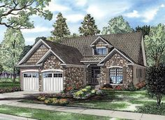 House Plan 82250 | Country Craftsman European Narrow Lot Plan with 1588 Sq. Ft., 3 Bedrooms, 3 Bathrooms, 2 Car Garage at family home plans