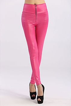 This bright, beautiful hot pink Faux Leather zip up Leggings with a high waist will accentuate your legs in style.