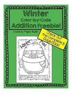 This addition activity is great for the winter season! This freebie is a part of an 8 page pack.   Check it out here: Winter Addition Color-By-Code Pack  Check out my blog! The Creative Colorful Classroom