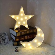 Pooqla Decorative LED Crescent Moon Marquee Sign - Moon Marquee Letters LED Lights - Nursery Night Lamp Gift for Children (White) Marquee Lights, Marquee Letters, Light Letters, Hanging Lights, Fairy Lights, Childrens Bedside Lamp, Star Night Light, Light Up, Deco Led