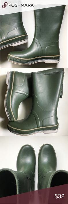 """Men's Waterproof Boots Sperry Top Sider green waterproof rubber boots. Hits about mid-calf. Boot is about 12"""" high when measured from ground. Boot shaft alone approx 9"""" high when measured from top of foot. When measured flat, shaft is about 7"""" wide at top, so approximately 14"""" around. Previously loved and in great condition. Sperry Top-Sider Shoes Rain & Snow Boots"""