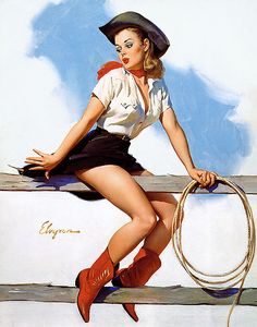 """16x20 /""""On Her Toes/"""" Vintage Style Elvgren Roping Cowgirl Rodeo Pin-Up Poster"""